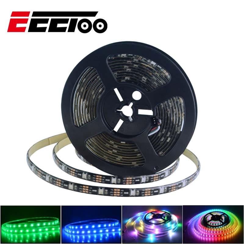 EeeToo Led Strip WS2812B RGB Light 30 Leds/m DC 5V Light-emitting Diode Tape Waterproof Lamp 5050 1M/5M Decor For PC TV Bedroom