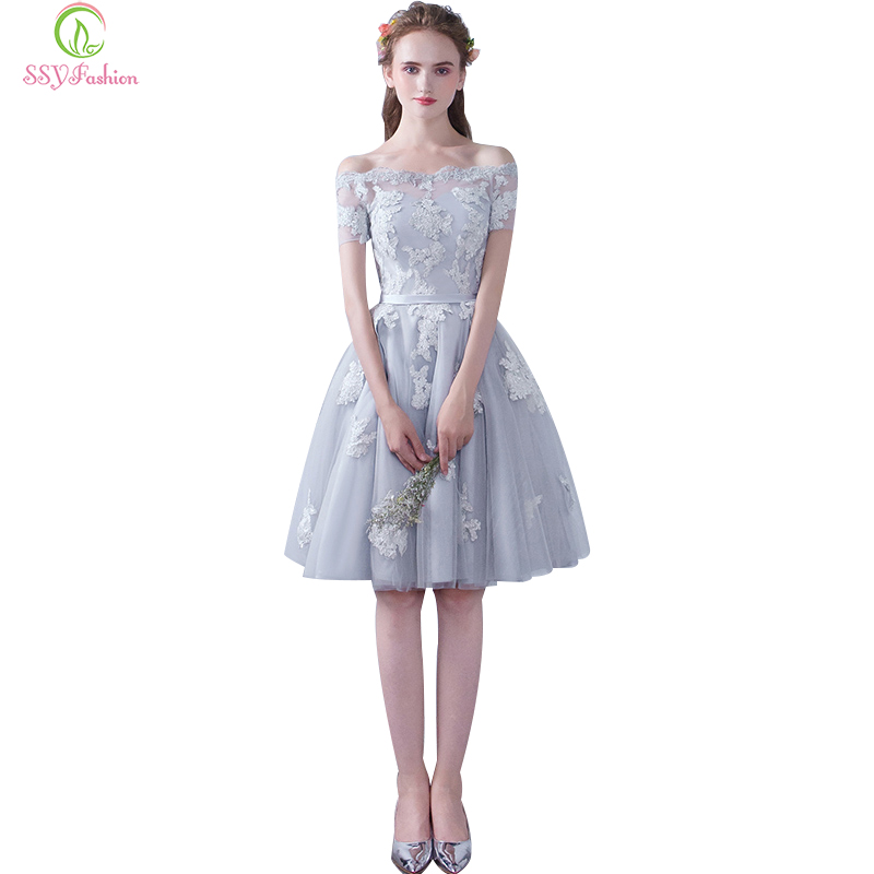 Vestidos SSYFashion   Cocktail     Dresses   Bride Banquet Elegant Lace Flower Boat Neck Short Sleeves Party Formal   Dress   Custom