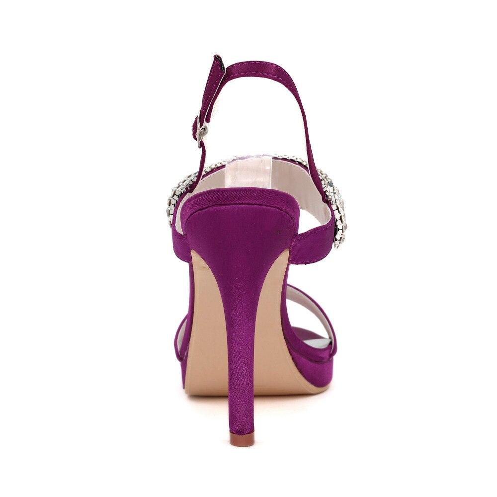 Creativesugar donna sandali di cristallo estate raso scarpe da sera strass  colorati tacchi alti del partito di promenade viola grigio argento avorio in  ... db02565fced6