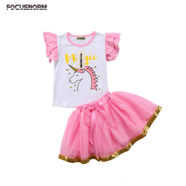 3ab5159919f9 Kids Baby Girls Outfits Clothes Unicorn Flying Sleeves T-shirt Tops  +Sequins Tulle Tutu