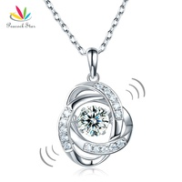 Peacock Star Dancing Stone Pendant Necklace Solid 925 Sterling Silver Good For Wedding Bridesmaid Gift CFN8046
