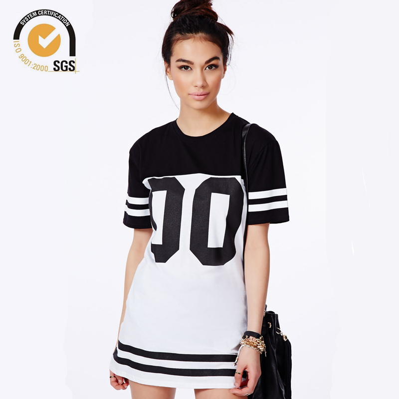 f7a893f67 Monochrome Baseball Dress Loose Long T-Shirt Dress Baseball Tshirt Dresses  Women Longline T Shirts Free Shipping