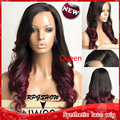 New Free Shipping high quality two tone black to burgundy ombre wavy glueless synthetic lace front wig heat resistant cheap long