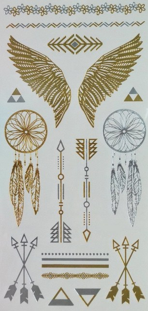 e4f04eea6 Golden and silver Metallic Temporary Tattoos jewelry design feathers and  wings Darts Arrow and Angel wings
