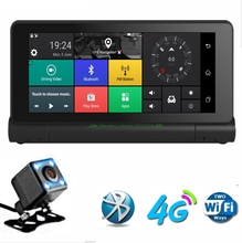 """1080 P складной Видеорегистраторы для автомобилей GPS Камера 6.86 """"Android 4 г регистраторы blutooth WI-FI Видео Авто Регистраторы регистратор с два задних Камера s"""