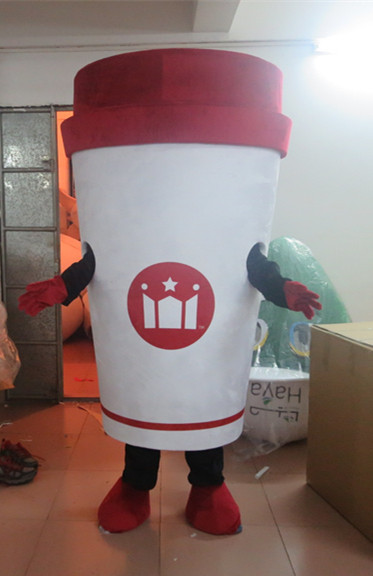 Hot Sale Custom made Deluxe white Coffee cup mascot costume Party special for Halloween party event