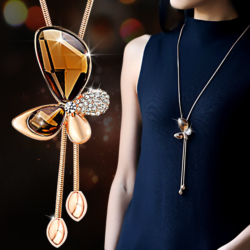 Classic Crystal Butterfly Tassel Long Necklace Women Bijoux New Fashion Jewelry Necklaces & Pendants Gift Y173