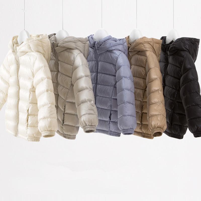 kid's Autumn 90% Duck Down Light Jacket baby Boys and girls Hooded down jacket цены онлайн
