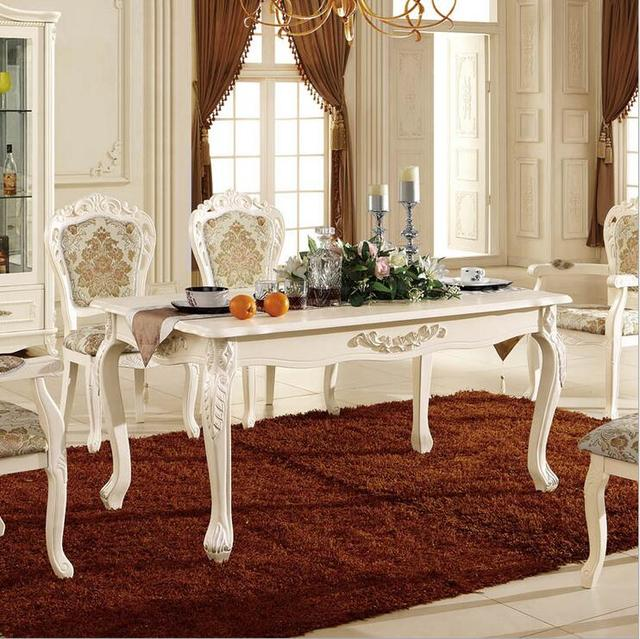 Antique Style Italian Dining Table, 100% Solid Wood Italy Style Luxury Dining  Table Set Pfy10028