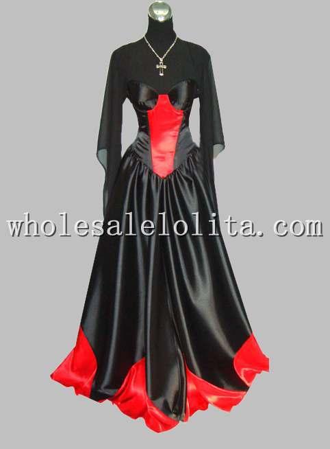 Freeshipping Gothic Black and Red Sleeveless Silk-like victorian Era Costumes Dress