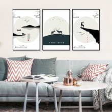 hot deal buy unframed canvas print painting chinese style minimalist landscape deer print wall picture for living room wall art decoration