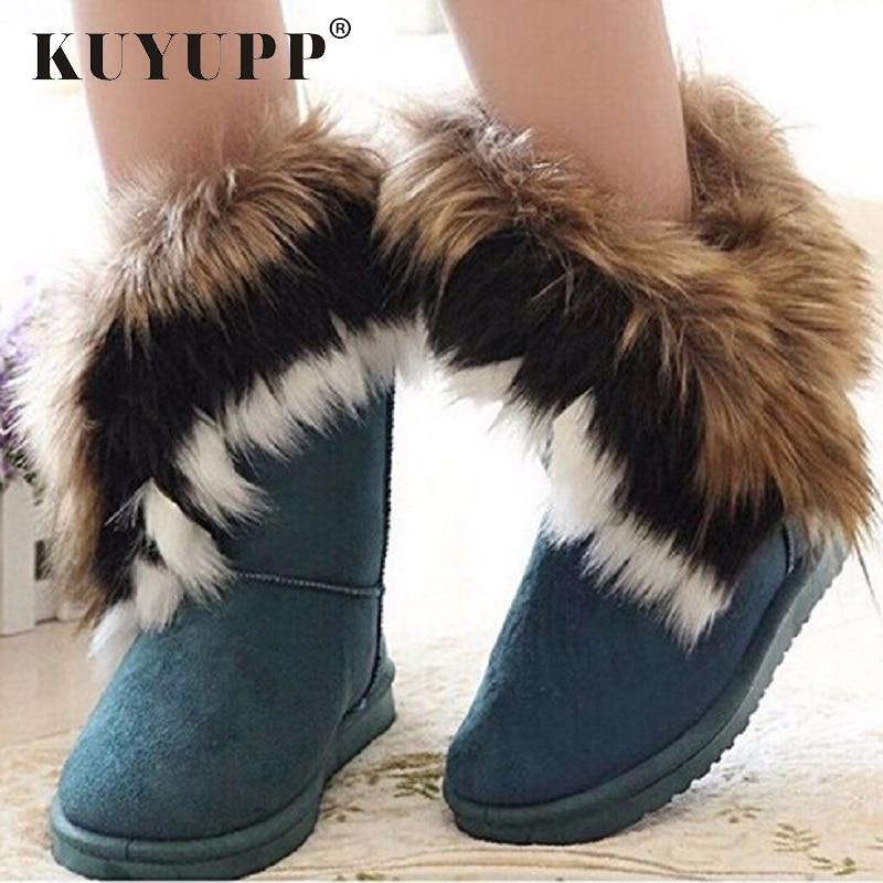 KUYUPP botas de piel de invierno tobillo botas caliente para las mujeres zapatos de nieve mujer ronda-dedo del pie resbalón en mujer rebaño de nieve bota zapatos de las señoras DX910