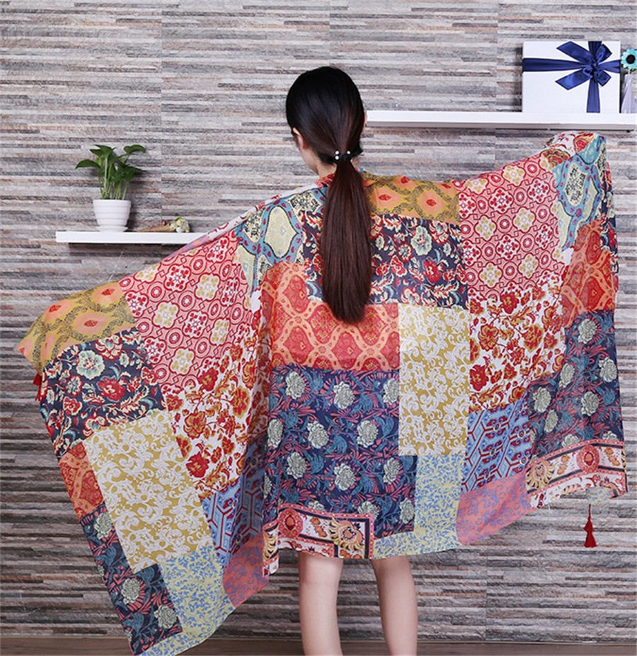 Women Fashion African Ethnic Patchwork Viscose Shawl Scarf Tassel Cotton Pashmina Poncho Wrap Snood Headband Sjaal Muslim Hijab