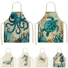 Кухонные фартуки с принтом морских животных для женщин и детей, хлопковые льняные нагрудники без рукавов, инструменты для приготовления выпечки и чистки 53*65 см GT1299