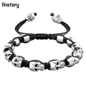 Sonrisa esqueleto cráneo pulseras Strand Vintage Boho antiguo plata tejida cuerda hecha a mano artesanía moda joyería