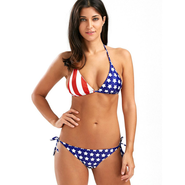 52f3c83102 Summer Women Sexy Beachwears American Flag Stars Stripes Digital Printing  Ladies Spaghetti Bras and Panties 2018