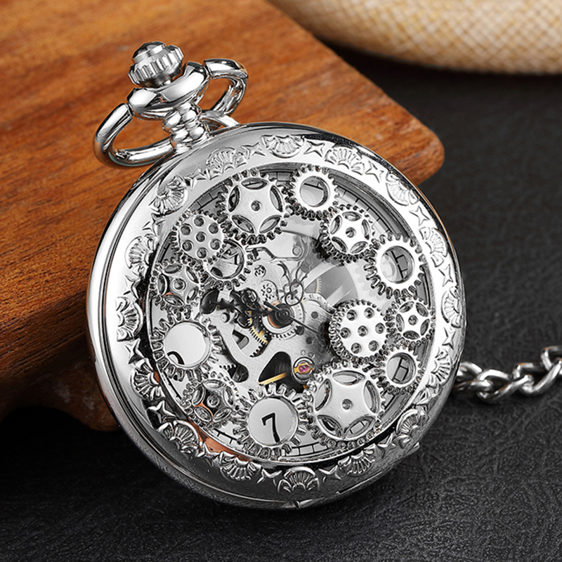 Mens Mechanical Pocket Watch Doctor Who Vintage Skeleton Hand Wind Watch Clock Steampunk Flip Case Necklace Women Mens Gift Box Clear And Distinctive Watches