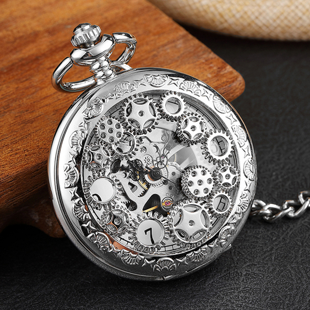 Mens Mechanical Pocket Watch Doctor Who Vintage Skeleton Hand Wind Watch Clock S