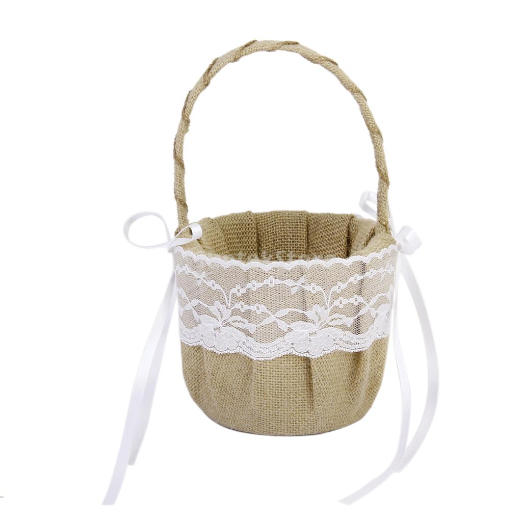 Vintage Burlap Jute Lace Bow Rustic Wedding Flower Girl Basket In