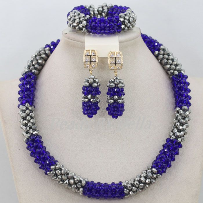 Lovely Silver Crystal Bridal Lace Jewlery African Beads Jewelry Set Nigerian Wedding African Beads Necklace Free Shipping ABF491
