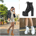 Women's Shoes Fall Ankle Platform Boots 2016 European Round toe Square High Heels Short Platform boots Brown Women's Shoes White