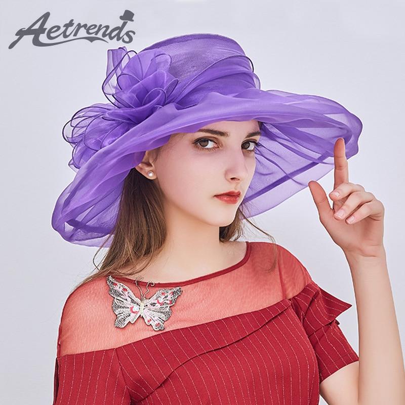 [AETRENDS] 2018 Nya Vintage Eleganta Dubbellag Organza Sun Hattar - Kläder tillbehör