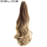 DELICE 55cm 22inches Women S Colorful Ombre Synthetic Hair Long Wavy Claw Ponytails 170g Piece