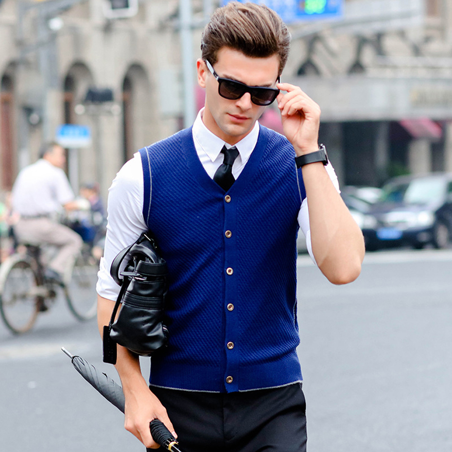 New Men's Buttons Down for Autumn Winter Casual Wool Sweater Cardigan Sleeveless Jacket Vest V Neck Basic Knit X909
