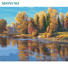SDOYUNO 60x75cm Painting By Numbers Trees and streams DIY GIft Home Decor Framed Room Decoration Coloring For Adults