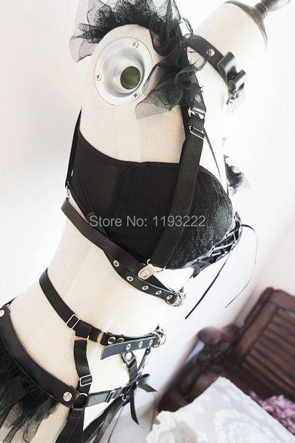 Women Handmade Punk Gothic Lolita Lace Harajuku Cincher Elastic Waist Belt Corset Underbust Body Bondage Cage Sculpting Harness