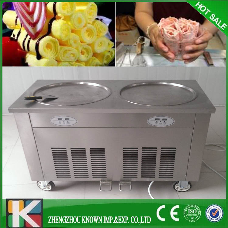 Thailand 2 Flat Pan Durable Stir Frozen Yogurt Roll Fry Ice Cream Machine With Topping Pans