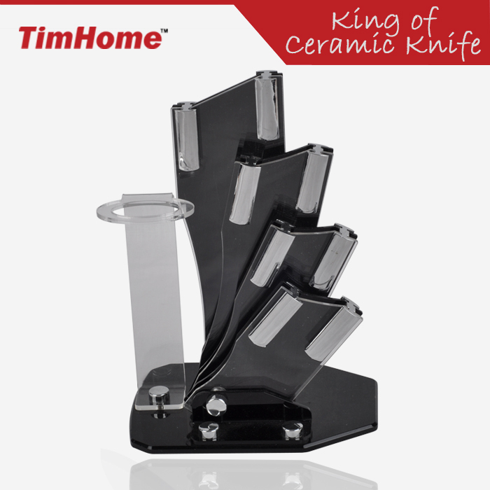Timhome Acrylic Ceramic Knife Holder Stand For Kitchen Ceramic Knife Block For 3'' 4'' 5'' 6'' Knives Storage