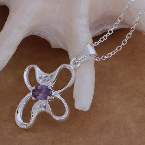 7ef216da91ea AN054 moda al por mayor collar de plata 925 joyería de moda colgante de  mariposa con incrustaciones de piedra púrpura bbjajsqa bhjajyqa
