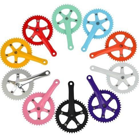 CNC colourful tripod paint 170l crank 44T Cycling Fixed gear chain wheel crankset track cycling folding bicycle