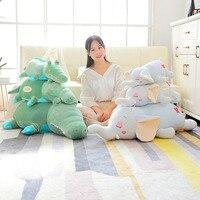 Lying Green Crocodile Blue Elephant Plush Toy Stuffed Children Sweet Animal Doll Toys Kids Sleeping Companion Gift
