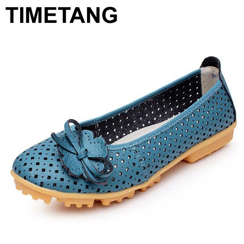 HORÁRIO Outs Ocos Respirável Verão Sapatos Flats Mulheres Sapatos de Couro Genuíno Macio Mulheres Loafers Mocassins Senhoras Feminino BSN-614