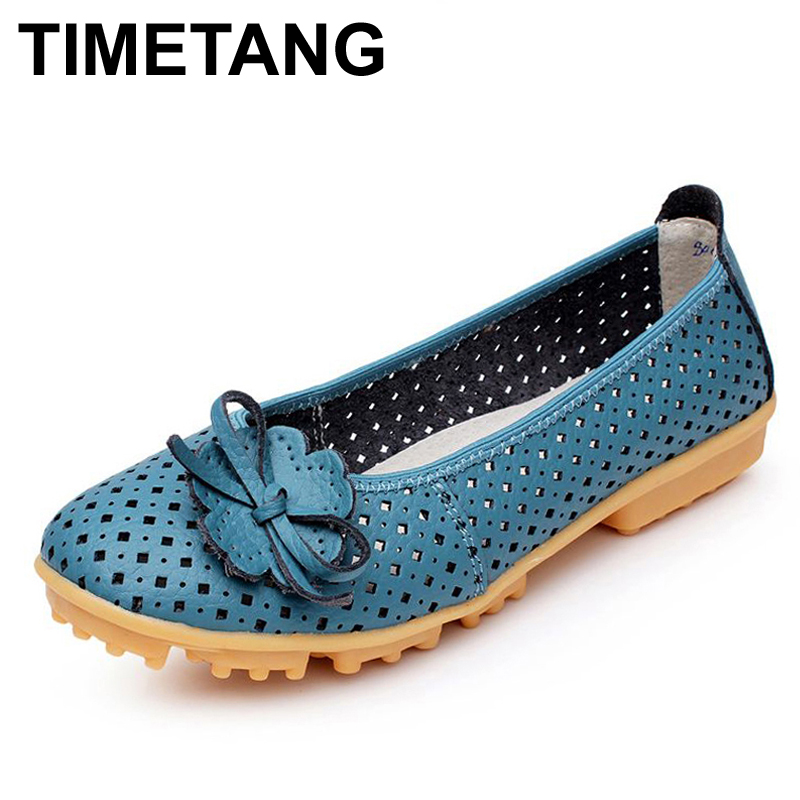 TIMETANG Hollow Outs Breathable Summer Shoes Women Flats Genuine Leather Soft Women Loafers Ladies Moccasins Female BSN-614 цены онлайн