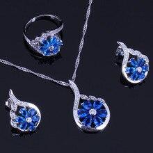 Flower Blue Cubic Zirconia White CZ 925 Sterling Silver Jewelry Sets For Women Earrings Pendant Chain Ring V0321 trendy water drop blue cubic zirconia white cz 925 sterling silver jewelry sets for women earrings pendant necklace bracelet