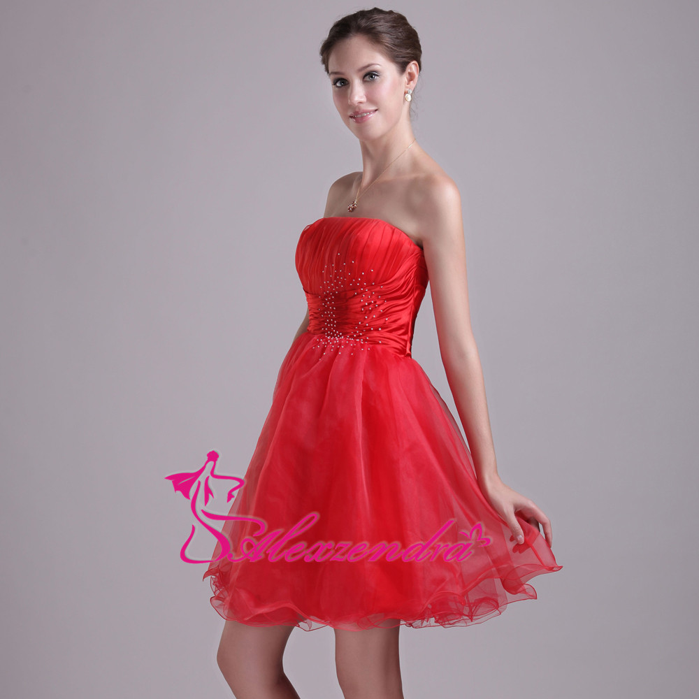 Alexzendra Red Strapless Beads A Line Organza Mini   Prom     Dresses   Party   Dress   Special Party Gowns