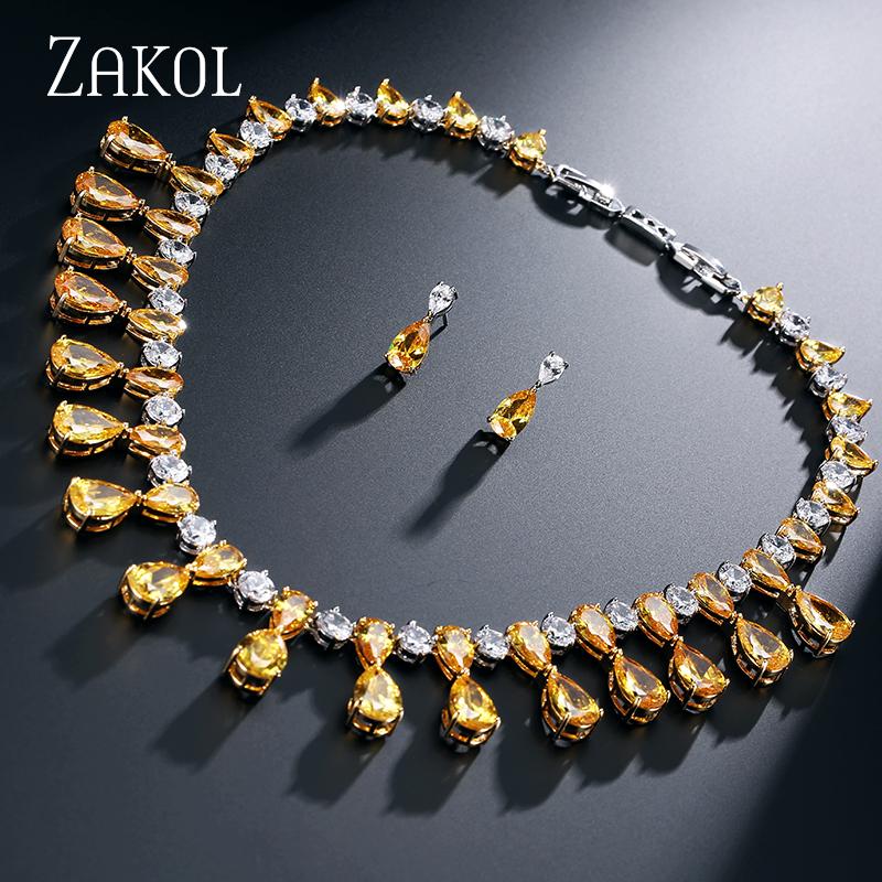 ZAKOL 4 Color Trendy Water Drop AAA CZ Diamond Wedding Jewelry Set 18k Gold Plated For