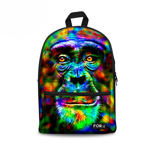 Luggage & Bags School Bags Unique Designer Women 3d Monkey Printing Backpack Casual Canvas Mens Rucksack Mochila Escolar Daypack Children Girls School Bag