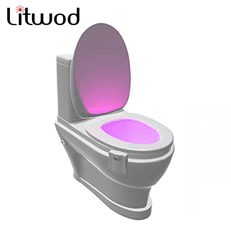 Litwod Sensor 2 in 1 Motion Activated night light LED Lamp lantern Human PIR 8 Colours Automatic Night lighting novelty light vasos sanitários coloridos