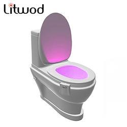 Litwod датчик 2 в 1 Движение Активированный Ночной свет светодио дный фонарь человеческий PIR 8 цветов Автоматическое ночное освещение Новинка