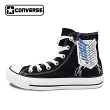 Дизайн обувь с рисунком из аниме бренд Converse Chuck Taylor Scout Regi Для мужчин t атака на Титанов Ручная роспись холст кроссовки для Для мужчин Для женщин