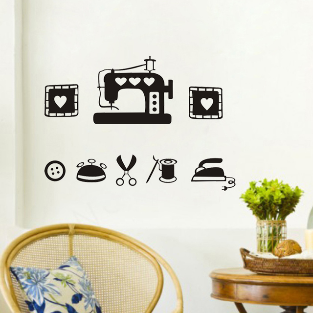 2016 I Love Sewing Wall Sticker Quotes Diy Stickers Home Decor Art Decals