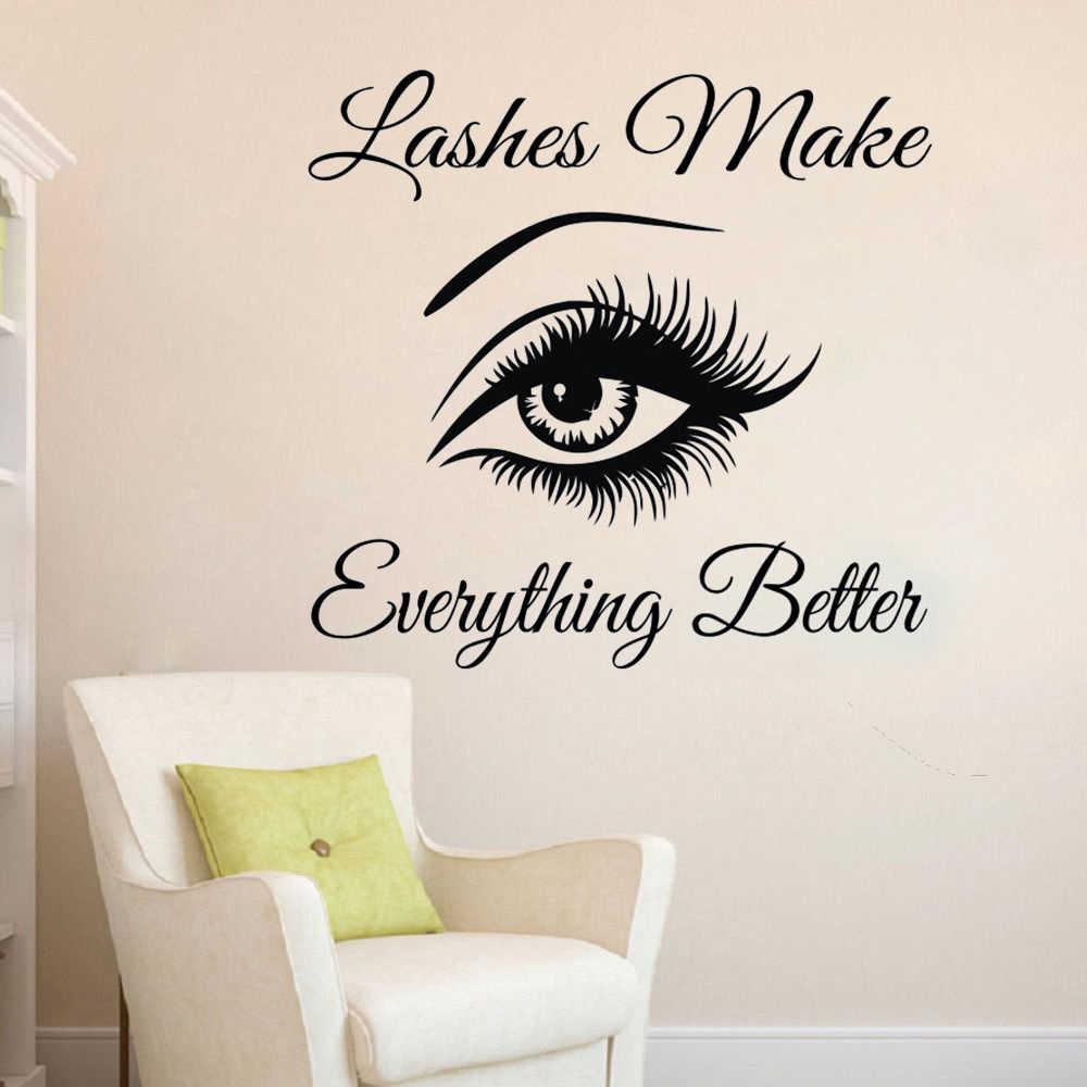 491cb3e7a9e ... Eyelashes Wall Sticker Eyebrows Lashes Vinyl Wall Decal Beauty Salon  Wall Decor Eyelash Lash Quote Wall ...