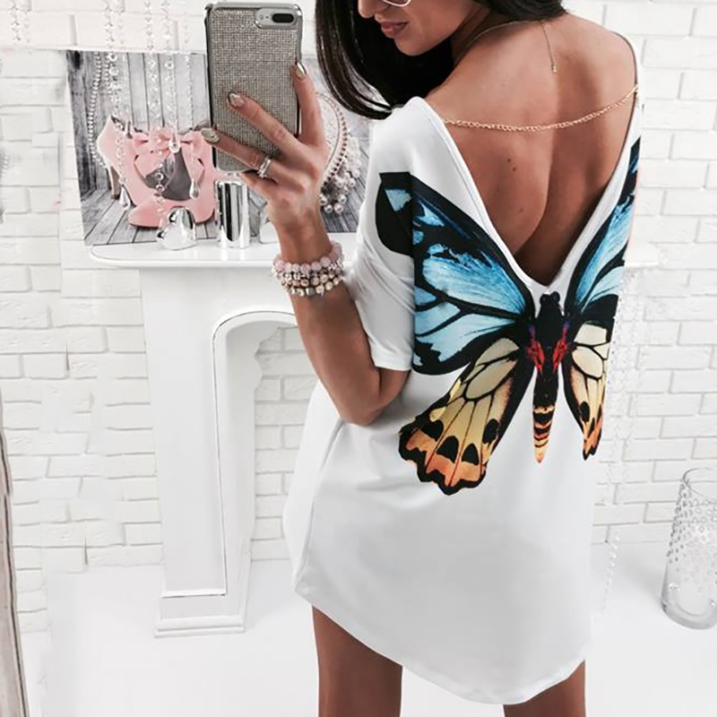 2018 New White O Neck Tshirt Dress Casual Sexy Backless Straight Dress With Chain Mini Butterfly Print Women Clothing