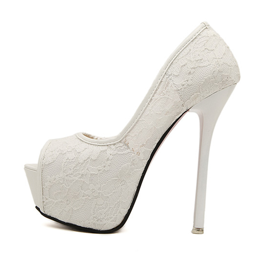 Women Pumps Fashion Lace Peep Toe High Heels Ladies Wedding Shoes Platform  White Party Shoes Female Sapatos Femininos In Womenu0027s Pumps From Shoes On  ...