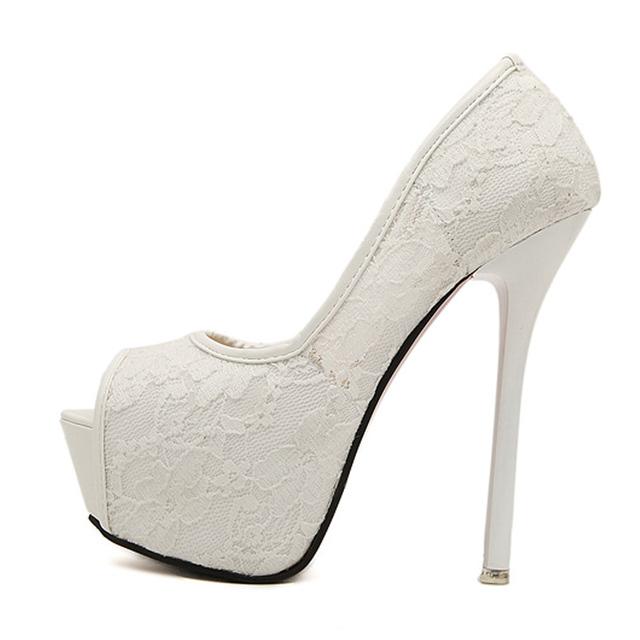 Fashion Lace Peep Toe High Heels Ladies Wedding Shoes