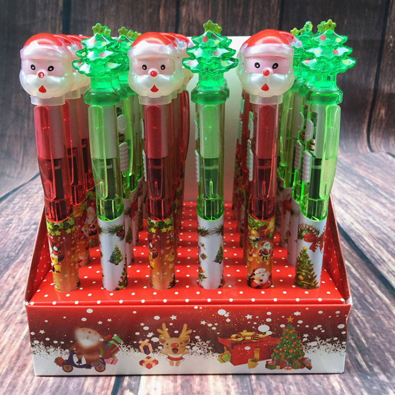 Glorious 4 Pcs/set Cute Santa Claus Christmas Tree Chunky Light Ballpoint Pen With Led Flash Lighting Ball Pens Stationery Christmas Gift 100% Guarantee Office & School Supplies